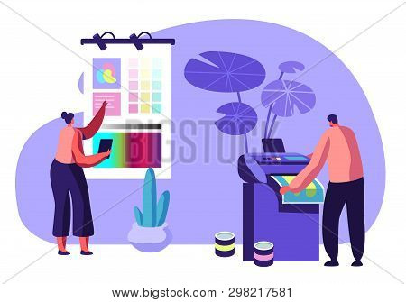 Girl Designer Choose Coloring Palette on Screen, Man Printing Ad on Multifunction Laser Printer. Working Process in Typography or Advertising Agency. Creative Team. Cartoon Flat Vector Illustration poster