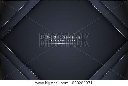 Black Premium Background With Luxury Dark.  Luxury Silver Platinum Lines Vector. Rich Background For