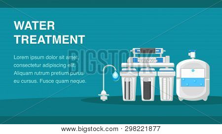 Water Treatment Banner Template With Text Space. Reverse Osmosis System Vector Illustration. Reservo
