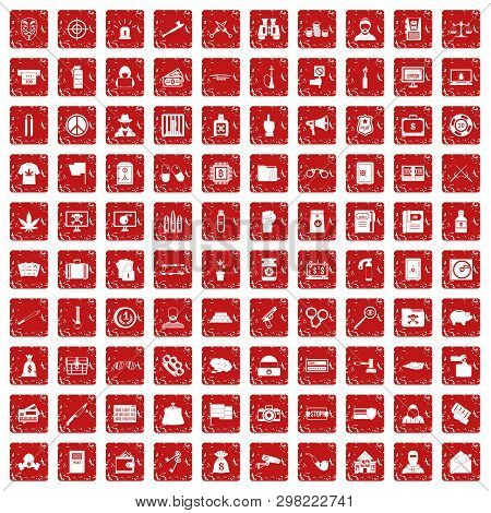 100 Criminal Offence Icons Set In Grunge Style Red Color Isolated On White Background Illustration