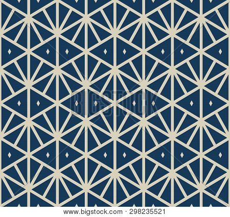 Geometric Triangles Seamless Pattern. Vector Abstract Texture With Triangular Grid, Net, Lattice, Rh