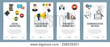 Web Banners Concept In Vector With Social Marketing, Relationship Marketing, Proximity Marketing And