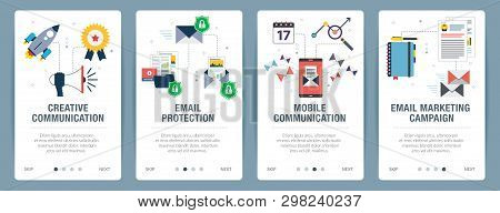 Vector Set Of Vertical Web Banners With Communication, Email Protection, Mobile Communication And Em