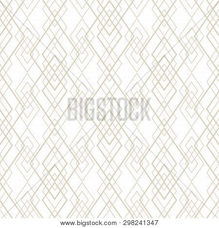 Vector Golden Lines Pattern. Subtle Geometric Seamless Texture With Grid, Diamonds, Rhombuses, Thin