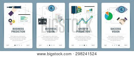 Vector Set Of Vertical Web Banners With Business Prediction, Business Vision, Growth Prediction And