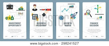 Vector Set Of Vertical Web Banners With Investment Opportunity, Business Visionary, Growth Vision  A