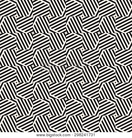 Vector Monochrome Geometric Seamless Pattern With Diagonal Stripes, Lines, Square Tiles. Black And W