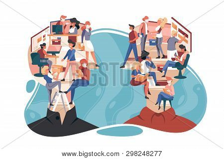 Flat Isolated Abstract People With Vanity About Woman, Man And Work In Head. Concept Person Characte