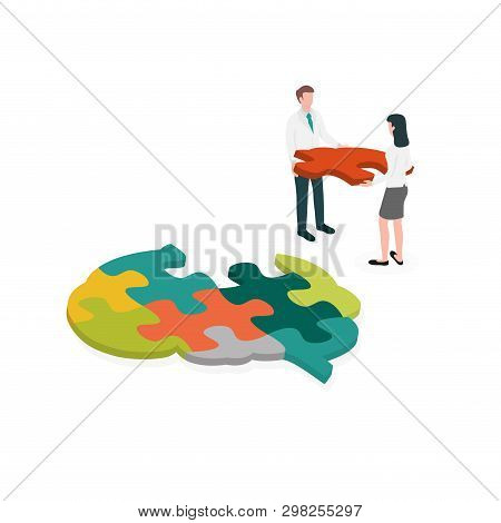 Occupational Therapist (or Medical Professional) Assembling A Brain Jigsaw Puzzle. Concept Picture F