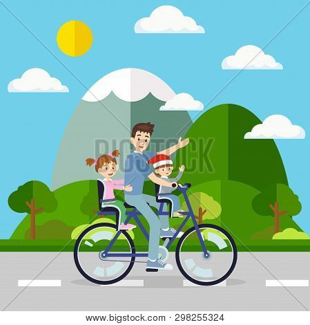 Father Cycling The Bicycle With His Baby Travel In Natural Environment. Vector For Family Bonding An