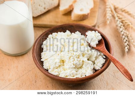 Curd Cheese, Cottage Cheese Or Tvorog In Bowl. Healthy Dairy Fermented Product Rich In Calcium. Rust