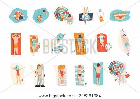 Young People Sunbathing On The Beach Set, Top View Of Lying Men And Women Vector Illustrations On A