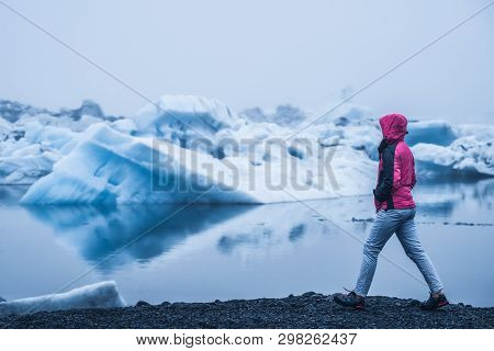 Travel In Jokulsarlon Glacial Lagoon In Iceland.