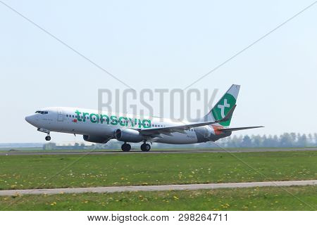 Amsterdam The Netherlands - April 22nd, 2019: Ph-guv Transavia Boeing 737 Takeoff From Polderbaan Ru