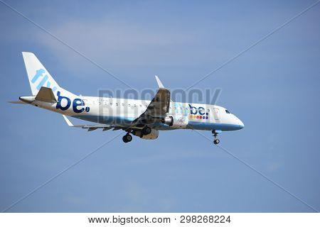 Amsterdam, The Netherlands - July 21st 2016: G-fbjd Flybe Embraer Erj-175std, Approaching Polderbaan