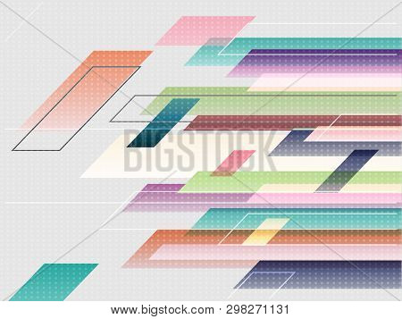Abstract Background Pattern With Pastel Colorful Rectangle. Abstract Bar On Gradient Grey Wallpaper.