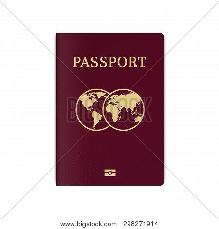 International biometric passport cover page. Red top page of a citizen ID document. poster