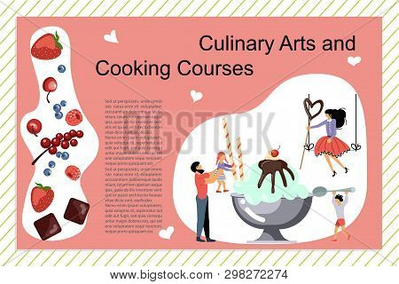 Culinary Art And Cooking Courses Poster, Banner Template. Happy Family Cooking Together A Chocolate