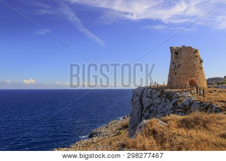 Salento Coastline: Minervino Watchtower. This Medieval Ruin Is Located In The Otranto Santa Maria Di