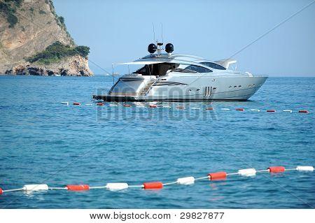 Motor yacht close by the coast