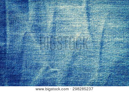Denim Blue Jeans Texture With Space For Text,  Indigo Plain Surface, Indigo Classic Vintage, Close-u