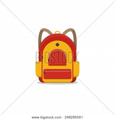 Red And Yellow Colored School Backpack. Backpack With Pockets And Zipper. Education And Study Back T
