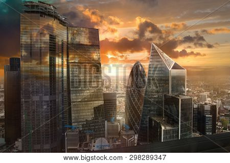 City Of London, Uk. Skyline View Of The Famous Financial Bank District Of London At Golden Sunset Ho