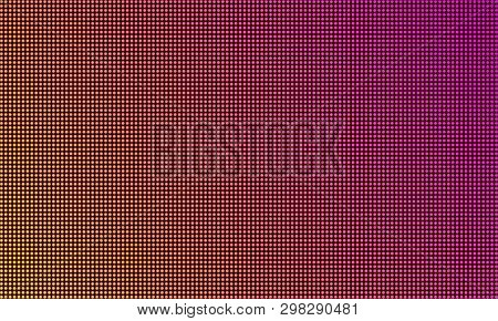 Led Tv Screen Monitor, Digital Diode Light Texture Background. Vector Video Wall Led Tv Display, Pur