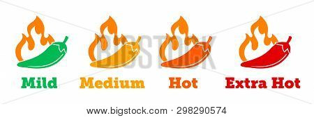 Spicy Chili Hot Pepper Vector Icons. Spicy Mexican Fast Food Menu Or Package Level Labels, Mild, Med