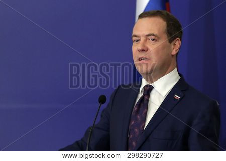 Sofia, Bulgaria - 4 March, 2019: Russian Prime Minister Dmitry Medvedev Attends To A Press Conferenc