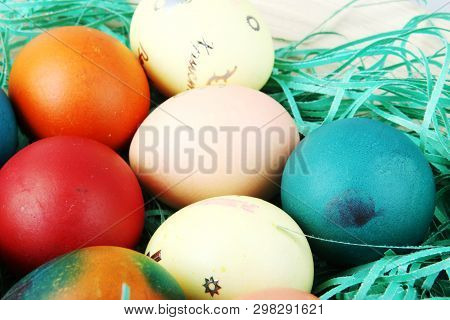 Studio Shot Of Colorful Easter Eggs Stock Photos