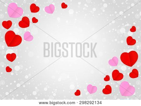 Empty Grey Frame And Red Pink Heart Shape For Template Banner Valentines Card Grey Background, Many