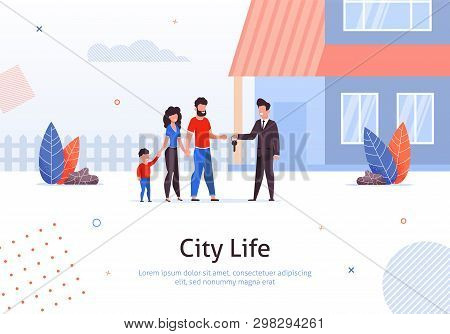 Man Selling Or Renting House To Couple Of Young People With Child Banner Vector Illustration. Man An