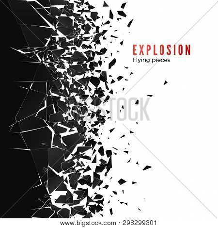 Abstract Cloud Of Pieces And Fragments After Wall Explosion. Shatter And Destruction Effect. Vector