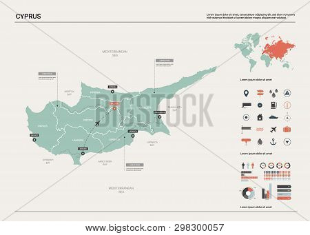 Vector Map Of Cyprus. High Detailed Country Map With Division, Cities And Capital Nicosia. Political