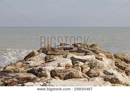 rocks way on the sea