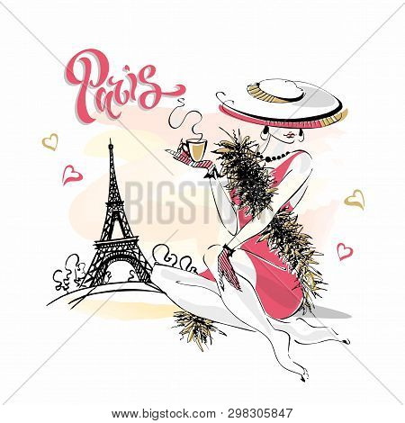 The Girl In The Hat Drinks Coffee. Fashion Model In Paris. Eiffel Tower. Romantic Composition. Elega