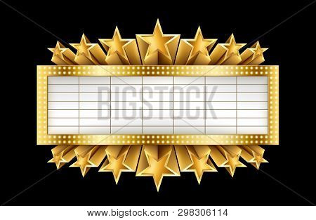 Marquee Golden Banner With Stars, And Realistic Metal Texture, Eps 10, Contains Transparency