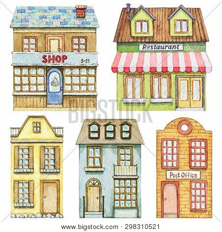 Set With Cute Cartoon Restaurant, Shop, Post Office And Two Residential Buildings Isolated On White