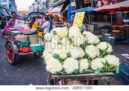 Mae Sot, Thailand - February 3rd 2019: Cauliflowers On The Market. Produce Here Is Cheap As Much Of
