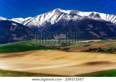 Spring Country And Snowy Hill Baranec - West Tatras Mountains At Background. Region Liptov, Slovakia