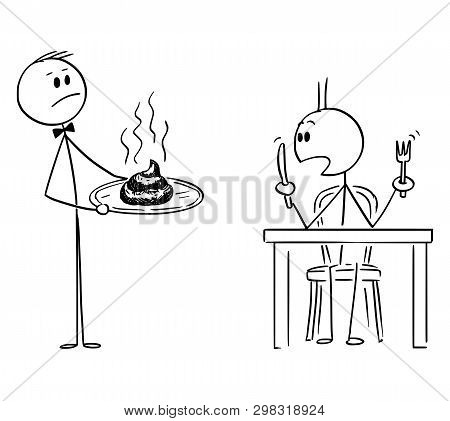 Cartoon Stick Figure Drawing Conceptual Illustration Of Waiter In Fancy Or Luxury Restaurant Serving