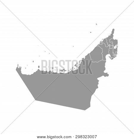 Vector Isolated Simplified Illustration With Grey Silhouette Mainland Of United Arab Emirates (uae)
