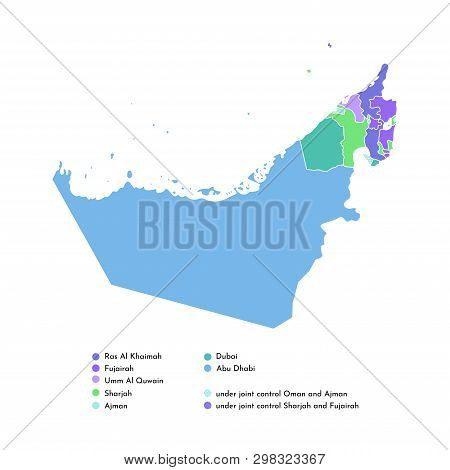 Vector Isolated Simplified Colorful Illustration With Silhouette Mainland Of United Arab Emirates (u