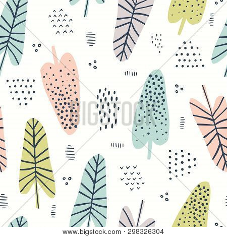 Banana Leaves Hand Drawn Vector Seamless Pattern. Tropical, Exotic Plant Drawing. Scandinavian Style