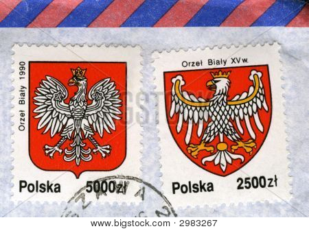 White Eagle, National Emblem Of Poland, On Old Post Stamps