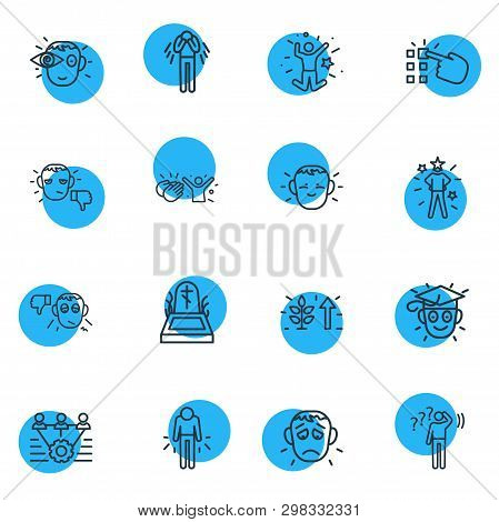 Vector Illustration Of 16 Emoticon Icons Line Style. Editable Set Of Death, Offence, Teamwork And Ot