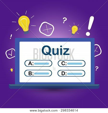 Quiz On Your Computer Screen With Answer Choices. Vector Illustration