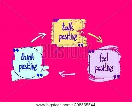 Vector Positive Lettering, Colorful Drawn Letterings On Bright Pink Background: Think Positive, Talk