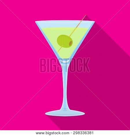 Vector Illustration Of Martini And Glass Sign. Set Of Martini And Alcohol Vector Icon For Stock.